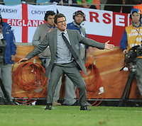 Fabio Capello Manager giving orders during the match<br /> England World Cup 2010<br /> Slovenia V England (0-1) 23/06/10 Group C at the Nelson Mandela Bay/Port Elizabeth Stadium FIFA World Cup 2010<br /> Photo Robin Parker Fotosports International
