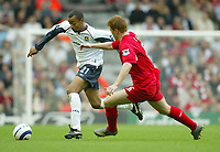 Photo: Aidan Ellis.<br /> Liverpool v West Ham Utd. The Barclays Premiership.<br /> 29/10/2005.<br /> West Ham's David Bellion and Liverpool's John Arne Riise