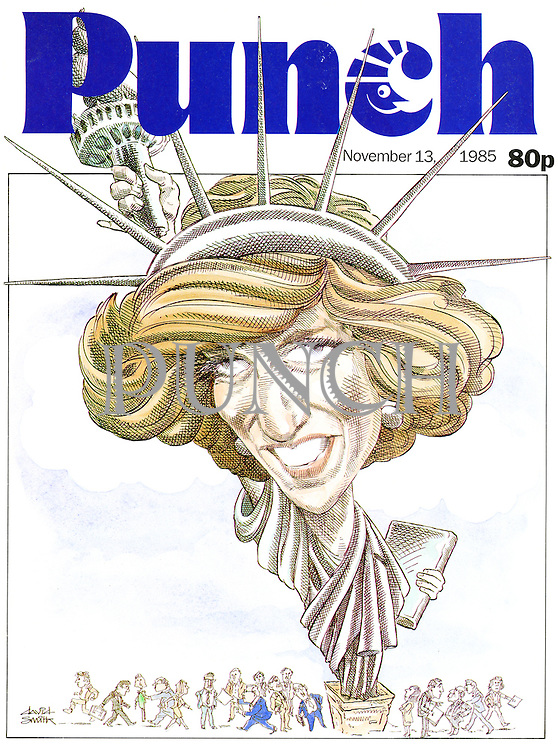 Punch front cover, 13 November 1985 (Princess Diana as the Statue of Liberty)