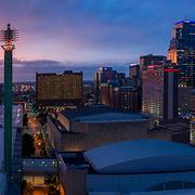 Downtown Kansas City, Missouri - Convention Center and skyline panorama photo at dusk.