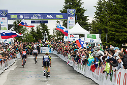 Winner Rafal Majka (POL) of Bora - Hansgrohe at finish line during Stage 3 of 24th Tour of Slovenia 2017 / Tour de Slovenie from Celje to Rogla (167,7 km) cycling race on June 16, 2017 in Slovenia. Photo by Vid Ponikvar / Sportida
