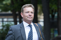 © Licensed to London News Pictures. 15/08/2017. LONDON, UK.  CRAIG MACKINLAY, Conservative MP for South Thanet<br /> arrives at Southwark Crown Court for a Plea and Trial Preparation Hearing (PTPH). CRAIG MACKINLAY, Conservative MP for South Thanet, MARION LITTLE, Craig Mackinlay's campaign director and NATHAN GRAY, Craig Mackinlay's election agent have each been charged with offences under the Representation of the People Act 1983.  Photo credit: Vickie Flores/LNP