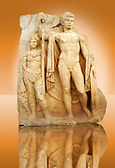 Photo of Roman releif sculpture of Emperor Tiberius with captive About to vanquish Britanica from Aphrodisias, Turkey, Images of Roman art bas releifs. Buy as stock or photo art prints.  Emperor Tiberius stands with a barbarian captive depicted half the height of Tiberius. 1