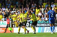 Burton Albion's Stephen Quinn (23) celebrates his goal with Burton Albion midfielder Jamie Allen (4) during the EFL Sky Bet League 1 match between Burton Albion and AFC Wimbledon at the Pirelli Stadium, Burton upon Trent, England on 1 September 2018.