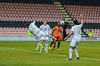Football - 2020 / 2021 Emirates FA Cup - Round 2 - Barnet vs Milton Keynes Dons - The Hive<br /> <br /> Ephron Mason-Clark (Barnet FC) with an overhead attempt at the Milton Keynes goal <br /> <br /> COLORSPORT/DANIEL BEARHAM