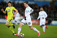 Adnan Maric of Swansea city in action.  The Emirates FA Cup, 4th round replay match, Swansea city v Notts County at the Liberty Stadium in Swansea, South Wales on Tuesday 6th February 2018.<br /> pic by  Andrew Orchard, Andrew Orchard sports photography.