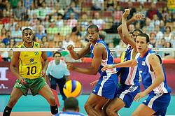 07.09.2014, Spodek, Katowice, POL, FIVB WM, Brasilien vs Kuba, Gruppe B, im Bild Ricardo Lucarelli Santos, Isbel Mesa Sandoval, Javier Ernesto Jimenez Scull // during the FIVB Volleyball Men's World Championships Pool B Match beween Brazil vs Cuba at the Spodek in Katowice, Poland on 2014/09/07. EXPA Pictures © 2014, PhotoCredit: EXPA/ Newspix/ Karol Baik<br /> <br /> *****ATTENTION - for AUT, SLO, CRO, SRB, BIH, MAZ, TUR, SUI, SWE only*****