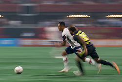 August 1, 2018 - Atlanta, Georgia, United States - MLS All-Star midfielder YOSHIMAR YOTUN dribbles the ball against Juventus forward LUCA CLEMENZA, 38 during the 2018 MLS All-Star Game at Mercedes-Benz Stadium in Atlanta, Georgia.  Juventus F.C. defeats  MLS All-Stars defeat  1 to 1  (Credit Image: © Mark Smith via ZUMA Wire)