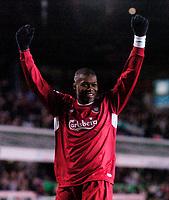 Photo: Glyn Thomas.<br />Birmingham City v Liverpool. The FA Cup. 21/03/2006.<br /> Liverpool's Djibril Cisse celebrates scoring his side's seventh goal.