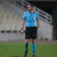 ATHENS, GREECE - OCTOBER 29: Referee Harald Lechner during the UEFA Europa League Group G stage match between AEK Athens and Leicester City at Athens Olympic Stadium on October 29, 2020 in Athens, Greece. (Photo by MB Media)