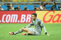 08.07.2014, Mineirao, Belo Horizonte, BRA, FIFA WM, Brasilien vs Deutschland, Halbfinale, im Bild Brazil's goalkeeper Julio Cesar sits on the field // during Semi Final match between Brasil and Germany of the FIFA Worldcup Brazil 2014 at the Mineirao in Belo Horizonte, Brazil on 2014/07/08. EXPA Pictures © 2014, PhotoCredit: EXPA/ Photoshot/ Liu Dawei<br /> <br /> *****ATTENTION - for AUT, SLO, CRO, SRB, BIH, MAZ only*****