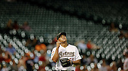 Aug 6, 2012; Houston, TX; USA; Houston Astros relief pitcher Wilton Lopez (59) celebrates striking out a batter against the Washington Nationals in the eleventh inning at Minute Maid Park. The Nationals won 5-4. Mandatory Credit: Thomas Campbell-US PRESSWIRE