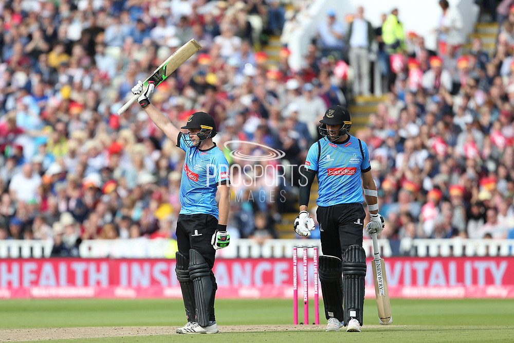 Sussex's Luke wright celebrates his 50 during the Vitality T20 Finals Day semi final 2018 match between Sussex Sharks and Somerset at Edgbaston, Birmingham, United Kingdom on 15 September 2018.