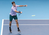 Tennis - 2017 Nitto ATP Finals at The O2 - Day Five<br /> <br /> Group Boris Becker Singles: Roger Federer (Switzerland) Vs Marin Cilic (Croatia)<br /> <br /> Roger Federer (Switzerland) with a forehand return of serve at the O2 Arena<br /> <br /> COLORSPORT/DANIEL BEARHAM