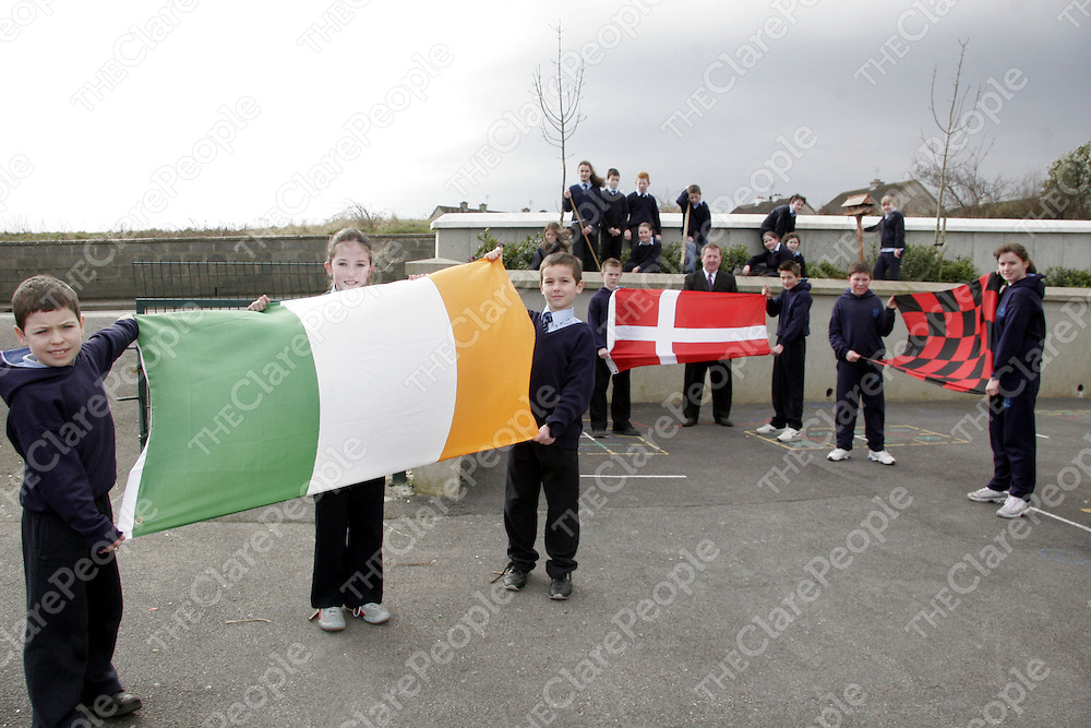Conor Healy, Roisin O'Donoghue and Sean Reddin with the Ireland flag along with Conor Killeen and Patrick Searson with the Danish flag as Ian Murphy and Evelyn Brody hold up the Derry flag with some other 5th and 6th class students keeping the weeds out of the garden under the watchful eye of Mullagh N.S principal Mr. Sean McMahon.<br /> <br /> Photograph by Yvonne Vaughan.