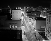 Y-500921.  Looking north on Broadway, night view, from the Sovereign Hotel. September 21, 1950