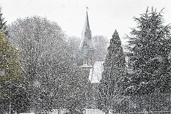© Licensed to London News Pictures. 29/04/2016. Leeds UK. Picture shows a church in leeds getting a covering of snow this morning. Leeds woke to a covering of snow this morning & is expected to get further snow showers over the weekend. Photo credit: Andrew McCaren/LNP