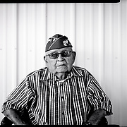 A portrait of Navajo Code Talker Sam Sandoval, July 7, 2019, at home in Shiprock, New Mexico.