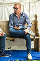 Pictured: Sir Chris Hoy prepares to meet the public at the Book Festival<br /> Book fanatics headed to Charlotte Square in Edinburgh which is the hub of the international Book Festival to meet the authors and also to meet up with fellow fans of the printed word.<br /> <br /> <br /> Ger Harley | EEm 21 August 2017
