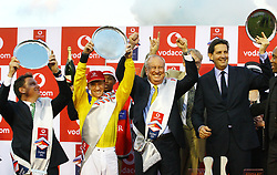 Durban 07-07-18 :Juston Snaith (left) trainer of the winning horse with Antony Marcus the winning jockey,Bernad Kantor the horse owners and Jack Mitchel after their horse had won the amin race at the Vodacom  Durban July<br /> PICTURE BONGANI MBATHA AFRICAN NEWS AGENCY (AMA)
