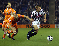 Photo: Mark Stephenson.<br /> West Bromwich Albion v Blackpool. Coca Cola Championship. 23/10/2007.West Brom's James Morrison gets the better of Blackpool's Stephen Crainey