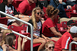 26 April 2014:   Fans of both teams, both genders and all ages fill the stands and standing areas during an NCAA Division 1 Missouri Valley Conference (MVC) Baseball game between the Southern Illinois Salukis and the Illinois State Redbirds in Duffy Bass Field, Normal IL