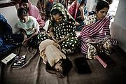 Christina refugees from Kandmahal district during the prayer at Peyton sahi relief comittee in Orissa's capital Bhubaneswar. Nov. 04, 2008.