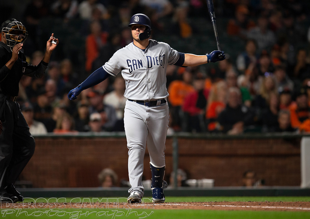 San Diego Padres' Ty France throws his bat after working a walk against the San Francisco Giants during the ninth inning of a baseball game, Thursday, Aug. 29, 2019, in San Francisco. The Padres won 5-3. (AP Photo/D. Ross Cameron)