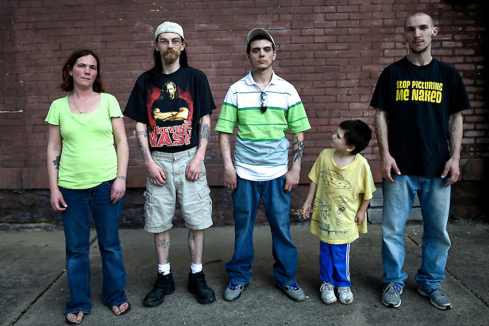 (L-R) Jessica Kruleski, 33, Traci Carmen, 34, Gary Parks, 27, Anson Barrett, 5, and Jeff Try, 22, photographed in Shamokin, PA, a town of 7,000 in coal country, on May 1, 2014.  The city is over $800,000 in debt and even had the gas temporarily turned off in city hall.  Long prosperous from the coal industry, in the 1980s there were 3 movie theaters, 3 dress shops, 3 shoe shops, 2 five and dime stores, and a skating rink, but none remain.