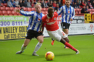 Barry Bannan of Sheffield Wednesday competes with El-Hajdi Ba of Charlton Athletic (r). Skybet football league championship match, Charlton Athletic v Sheffield Wednesday at The Valley  in London on Saturday 7th November 2015.<br /> pic by John Patrick Fletcher, Andrew Orchard sports photography.