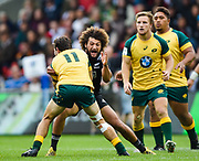Australia wing Liam McNamara runs at New Zealand wing Caleb Makene during the World Rugby U20 Championship 5rd Place play-off  match Australia U20 -V- New Zealand U20 at The AJ Bell Stadium, Salford, Greater Manchester, England on Saturday, June  25  2016.(Steve Flynn/Image of Sport)