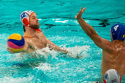 Thomas Lucas of the Netherlands in action against Romania during the Olympic qualifying tournament. The Dutch water polo players are on the hunt for a starting ticket for the Olympic Games on February 16, 2021 in Rotterdam