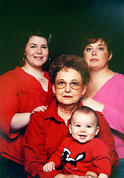 21 May 2015. Laurel, Mississippi.<br /> Collect photos of plus size model Tess Holliday (formerly known as Tess Munster, née Ryann Hoven) in her formative years from a family album. Four generations. Tass and mother Beth (rt), grand mother Carolyn Tadlock with Tess's son Riley.  <br /> Photo credit; Tadlock via Varleypix.com