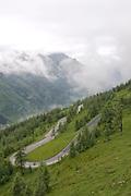 Mist covers the Austrian Alps
