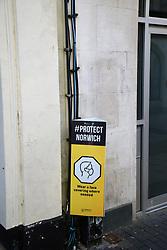 Protect Norwich sign during Coronavirus pandemic, UK January 2021