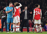 Football - 2019 / 2020 Premier League - Arsenal vs. Manchester United<br /> <br /> Arsenal head coach Mikel Arteta celebrates at the final whistle after their 2-0 victory, The Emirates Stadium.<br /> <br /> COLORSPORT/ASHLEY WESTERN