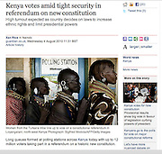 Kenya, vote on new referendum - The UK Guardian.