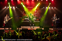 80's cover band Hairball plays the big stage at the Broken Spoke Saloon in Ormond Beach during Daytona Beach Bike Week, FL. USA. Wednesday, March 13, 2019. Photography ©2019 Michael Lichter.