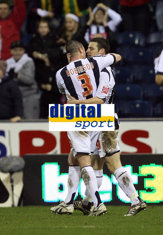 Photo: Rich Eaton.<br /> <br /> West Bromwich Albion v Luton Town. Coca Cola Championship. 12/01/2007. Jason Koumas right os congratulated by Paul Robinson #3 after his goal late in the first half