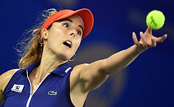 WUHAN, Sept. 28, 2017 Alize Cornet of France serves during the singles quarterfinal match against Maria Sakkari of Greece at 2017 WTA Wuhan Open in Wuhan, capital of central China's Hubei Province, on Sept. 28, 2017. Alize Cornet lost 0-2.  wll) (Credit Image: © Cheng Min/Xinhua via ZUMA Wire)