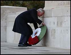 November 13, 2016 - London, United Kingdom - Image ¬©Licensed to i-Images Picture Agency. 13/11/2016. London, United Kingdom. Prince Charles Remembrance Sunday. ..The Prince of Wales lays a wreath at the Guard's Memorial for the Welsh Guards' Regimental Remembrance Sunday, Horse Guards Road, London...Picture by i-Images / Pool (Credit Image: © i-Images via ZUMA Wire)