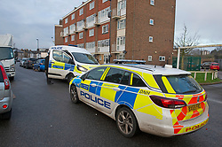 © Licensed to London News Pictures 06/02/2021.        Croydon, UK. A man has been killed and ten others have been stabbed with two in a life threatening condition in hospital after a night of knife violence in Croydon, South London. Police have put a large cordon in place at the murder scene in Wisbeach Road. Photo credit:Grant Falvey/LNP