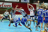 Håndball - Drammen Stavanger, Drammenshallen. Keeper Ole Ervik redder frikastfra Kristian Kjelling i sluttsekundet.  (Foto: Andreas Fadum, Digitalsport)
