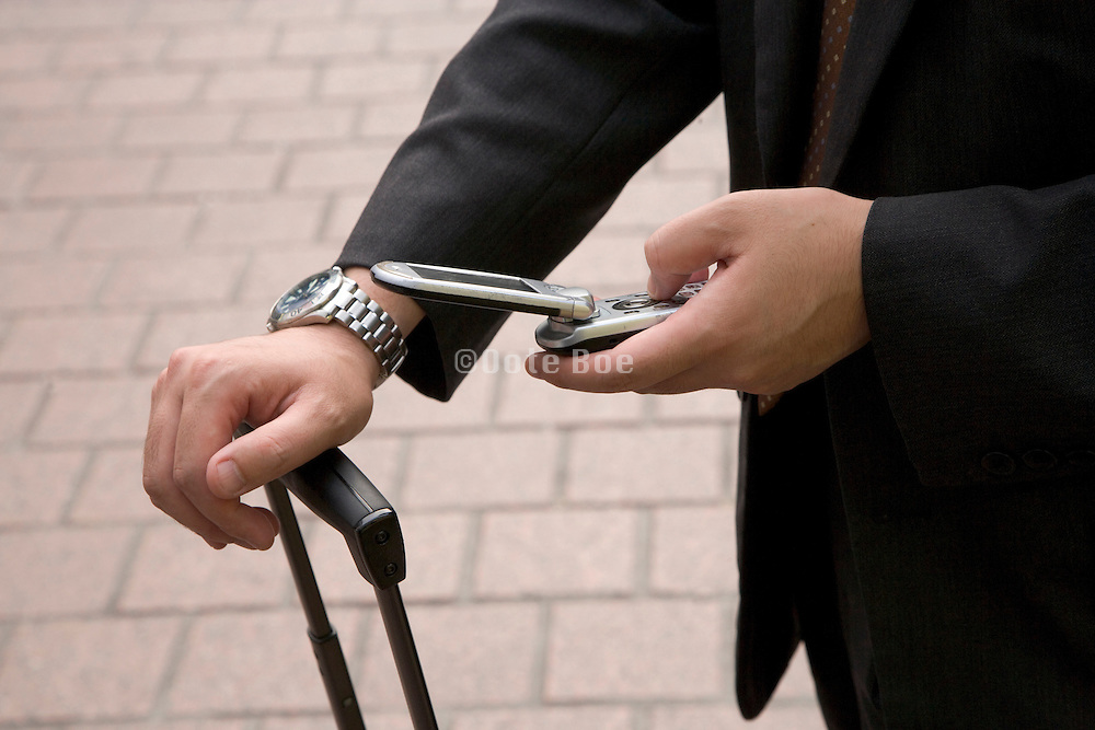 businessman creating a text message