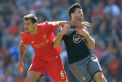 7th May 2017 - Premier League - Liverpool v Southampton - Dejan Lovren of Liverpool puts his arm across Shane Long of Southampton - Photo: Simon Stacpoole / Offside.