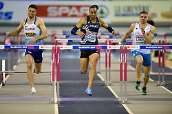 Great Britain's Andy Pozzi (left) and France's Pascal Martinot-Lagarde in the Men's 60m Hurdles Final during day three of the European Indoor Athletics Championships at the Emirates Arena, Glasgow.