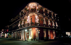 December 21 2008. New Orleans,  Louisiana. <br /> Festive cheer and Christmas lights in the French Quarter. <br /> Photo; Charlie Varley.
