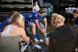 UnitedHealthcare Pro Cycling prepare for La Course by Le Tour de France 2018, a 112.5 km road race from Annecy to Le Grand Bornand, France on July 17, 2018. Photo by Sean Robinson/velofocus.com