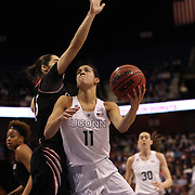 Kia Nurse, UConn, drives to the basket during the UConn Vs Cincinnati Quarterfinal Basketball game at the American Women's College Basketball Championships 2015 at Mohegan Sun Arena, Uncasville, Connecticut, USA. 7th March 2015. Photo Tim Clayton