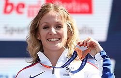Great Britain's Megan Beesley holds her medal after taking Bronze in the Women's 400m Hurdles, during day five of the 2018 European Athletics Championships at the Olympic Stadium, Berlin.